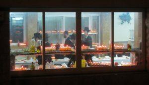 menorah in window, Jerusalem photo