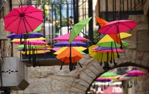 small umbrellas off Yoel Salomon Street Jerusalem Israel