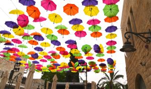 Colorful umbrellas in Music Square Jerusalem Israel