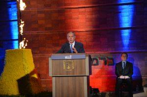 Prime Minister Benjamin Netanyahu speaking at Yad Vashem Yom Hashoah