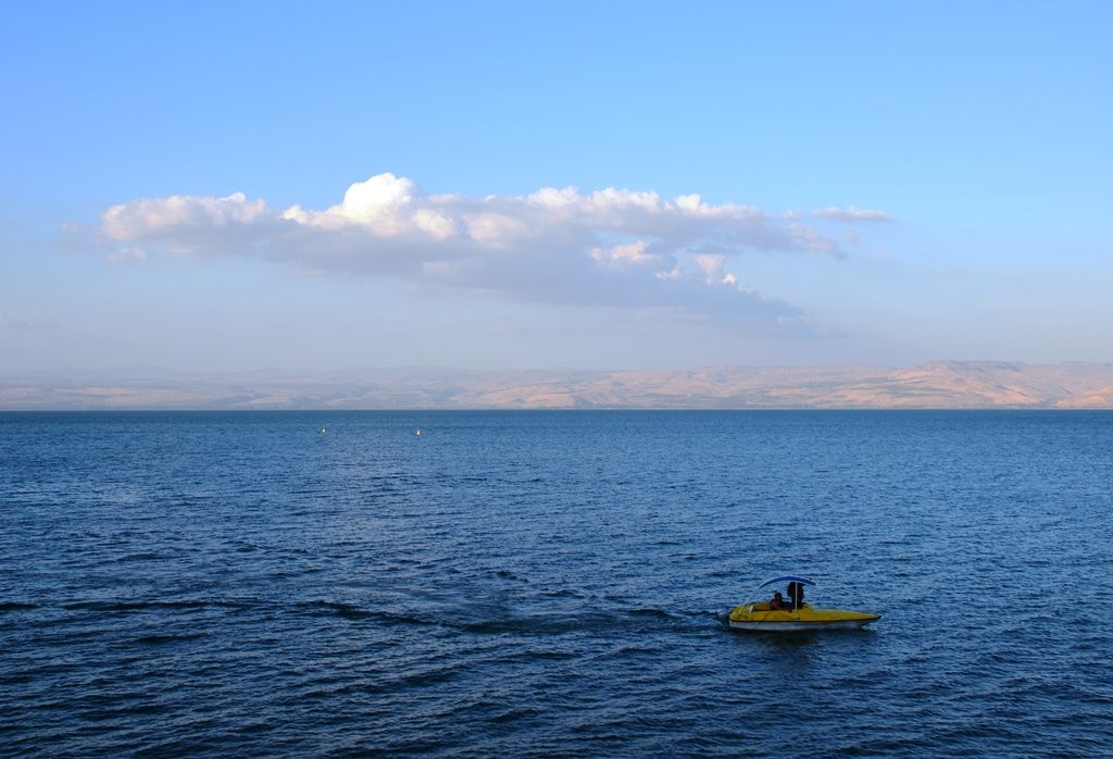 view of Kinneret at sunset