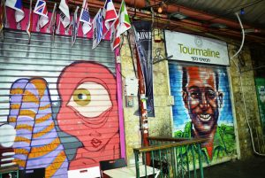 Art on closed shutters in Machane Yehuda market