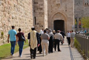 Muslims and Jews going to Jaffa Gate on Friday sukkot