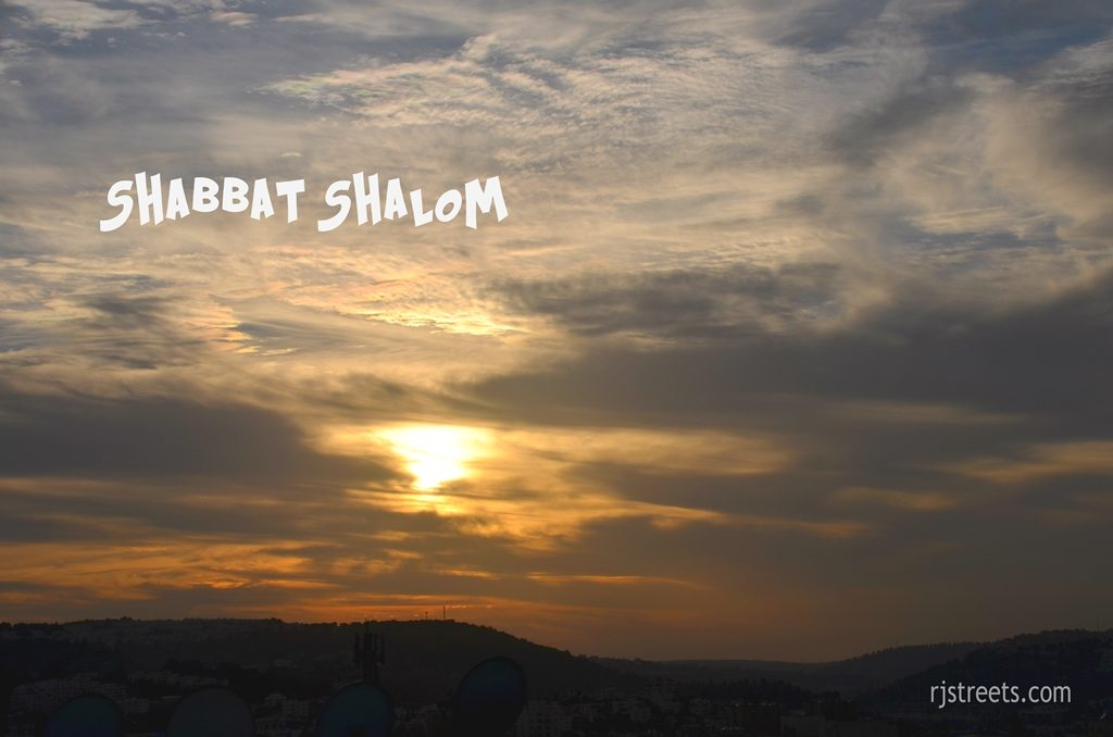 Jerusalem Israel winter sunset with clouds Shabbat shalom