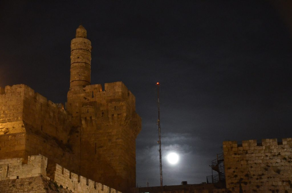 Supermoon over Tower of David