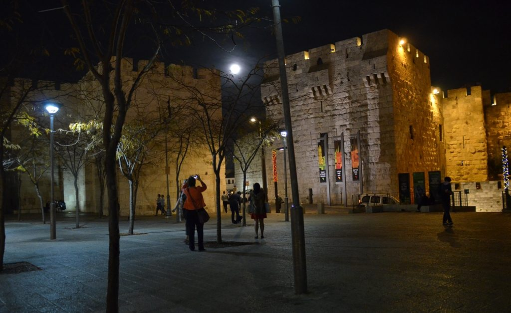 Jaffa Gate, Old City, supermoon,