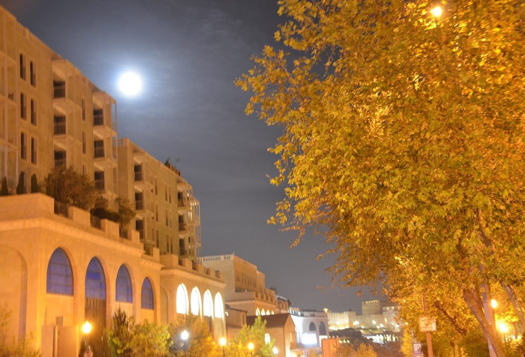 Supermoon over Mamilla Mall Jerusalem