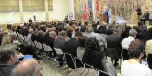Chagall Hall Israel Knesset PM speaking to international delegation Jewish Agency