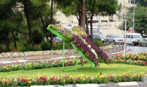 Butterfly shaped flower display on Rupin Road near Knesset and Gan Sacher