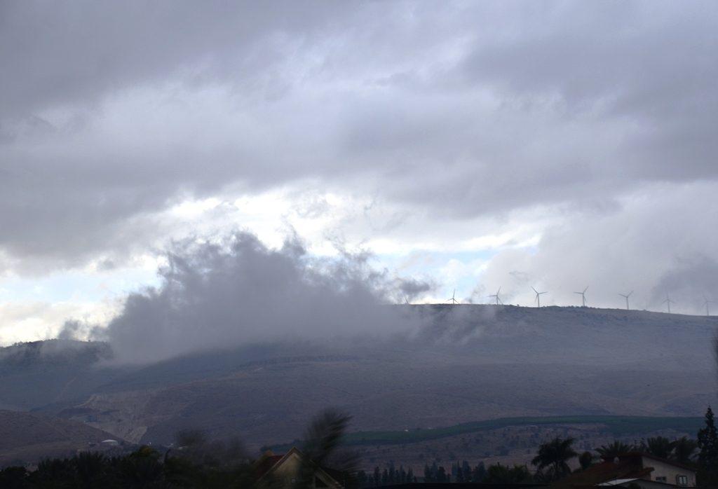 Cloud scene on Israel with windmills