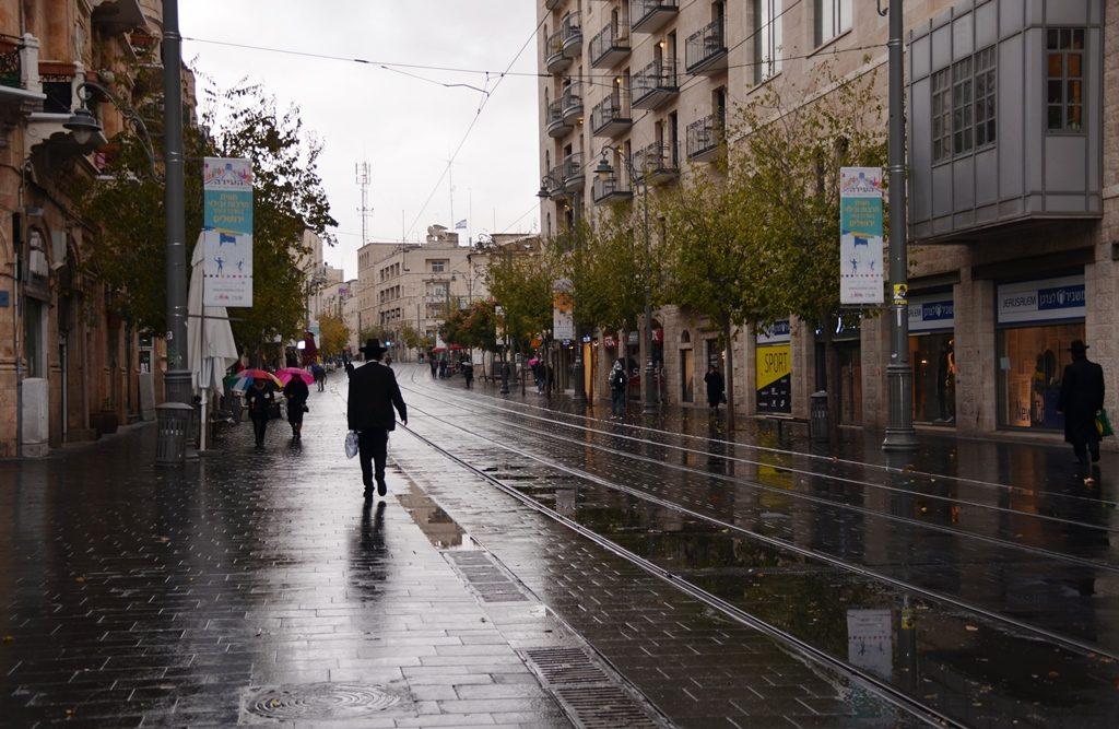 rain in Jerusalem Israel
