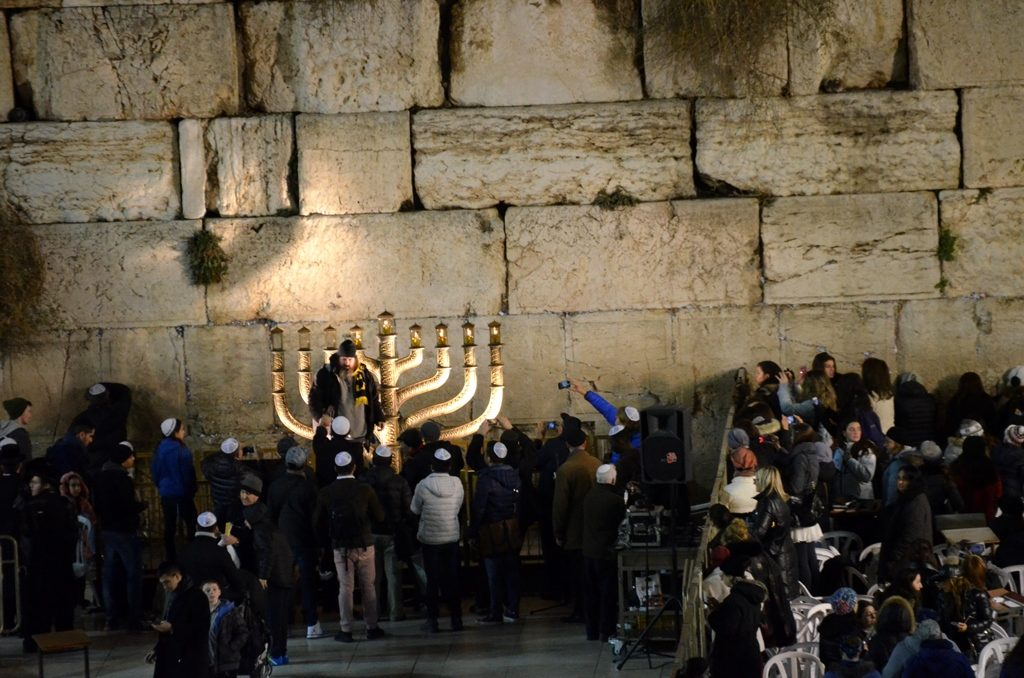 Hanukkah menorah at Western Wall