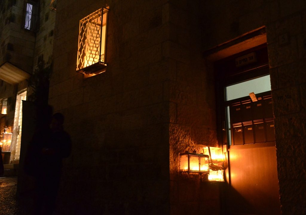 Menorahs lining street of Rova, Jewish Quarter Jerusalem Old City