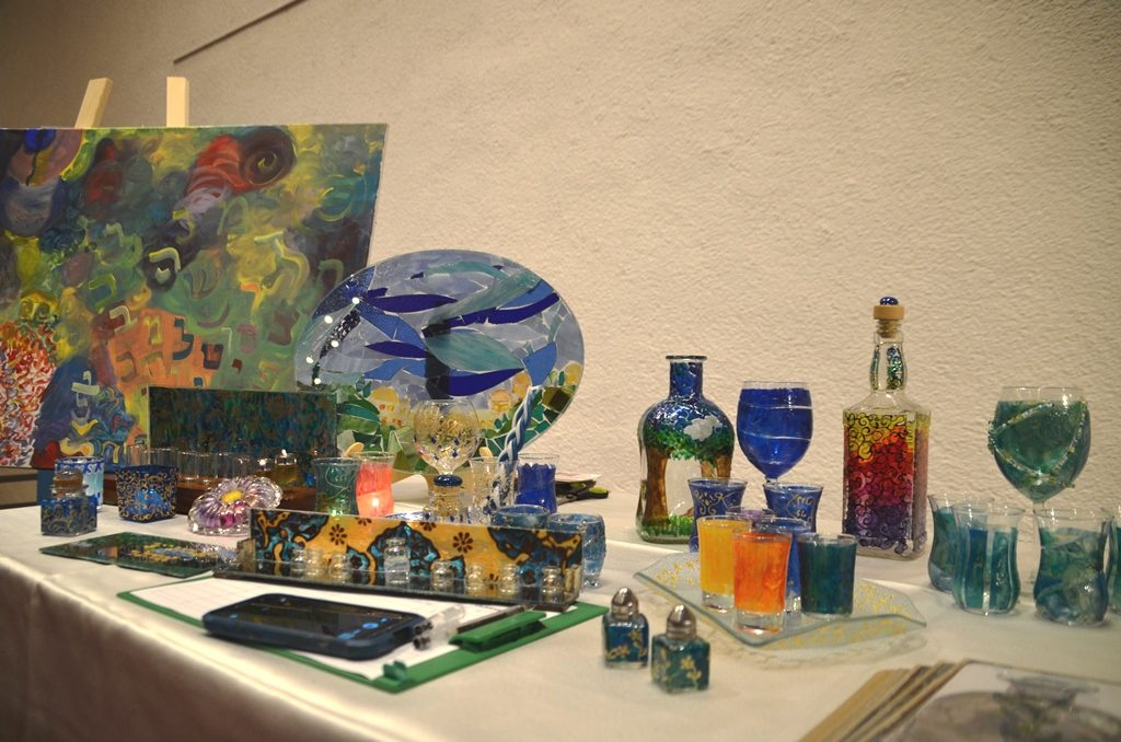 Painted glass at Jerusalem theater olim event