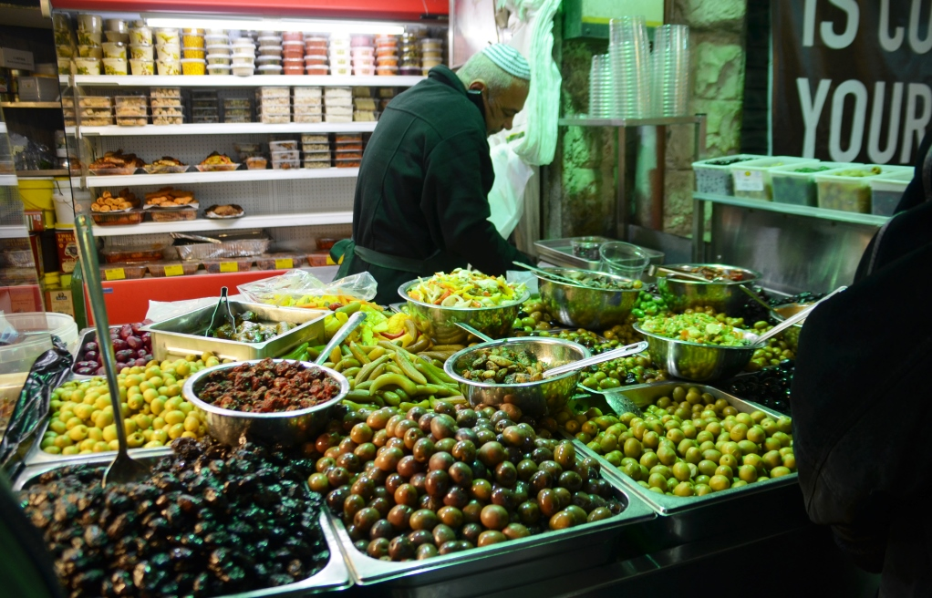 Variety of olives in machane yehuda market