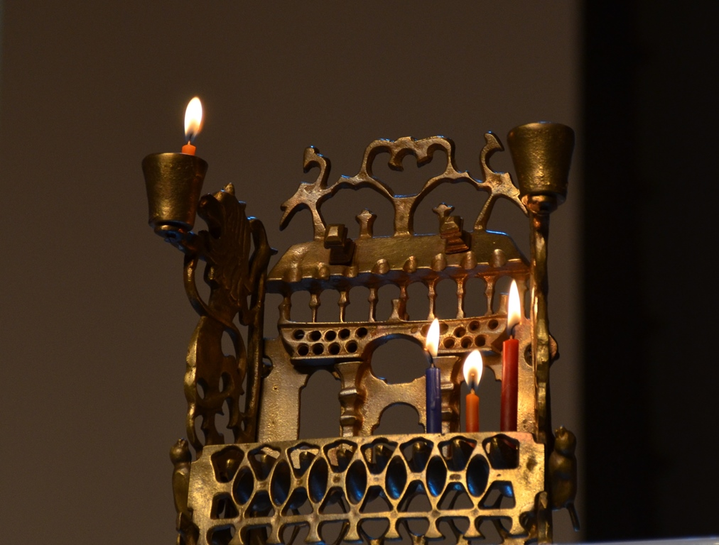 Krakow menorah at Yad Vashem on third night of Hanukkah