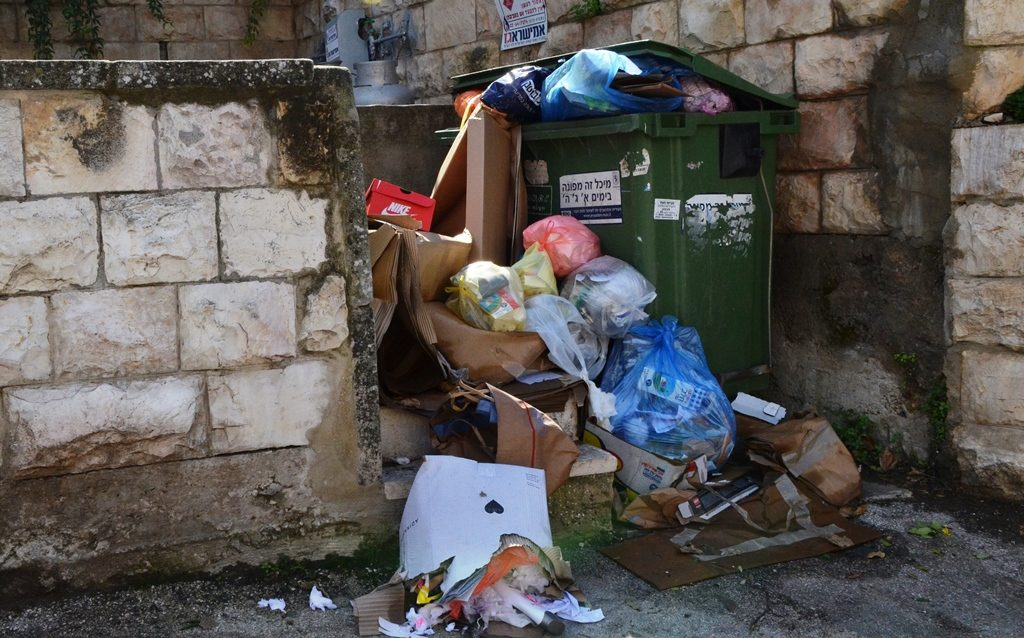 Garbage strike and bins over full of rubbish Jerusalem Israel mess