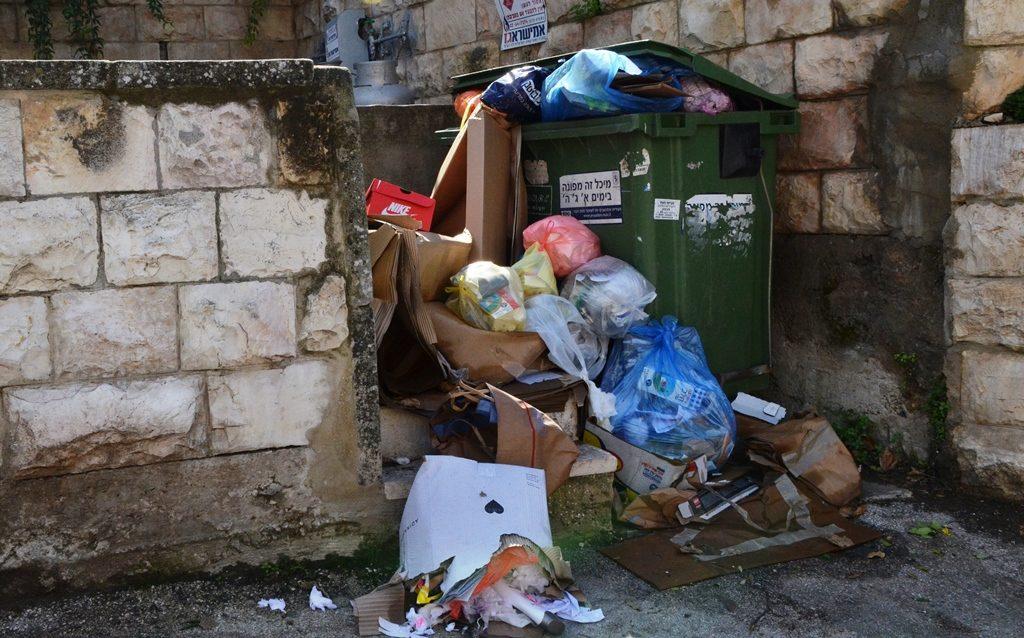 Garbage strike and bins over full of rubbish Jerusalem Israel mess