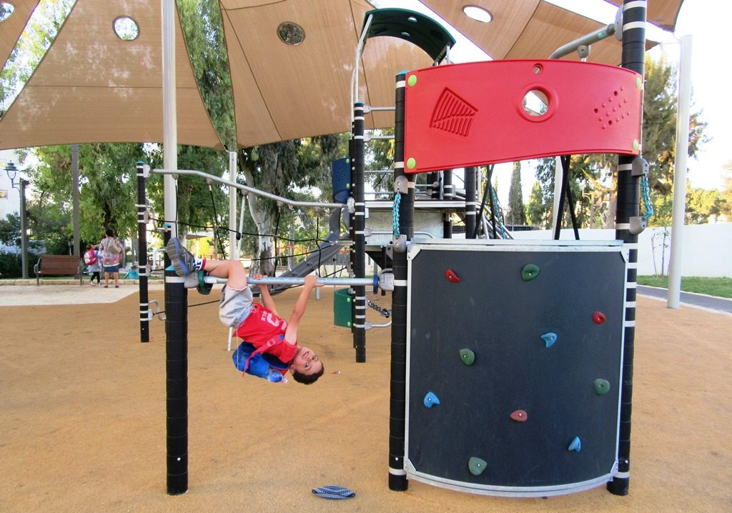 Boy playing in new Jerusalem, Israel park