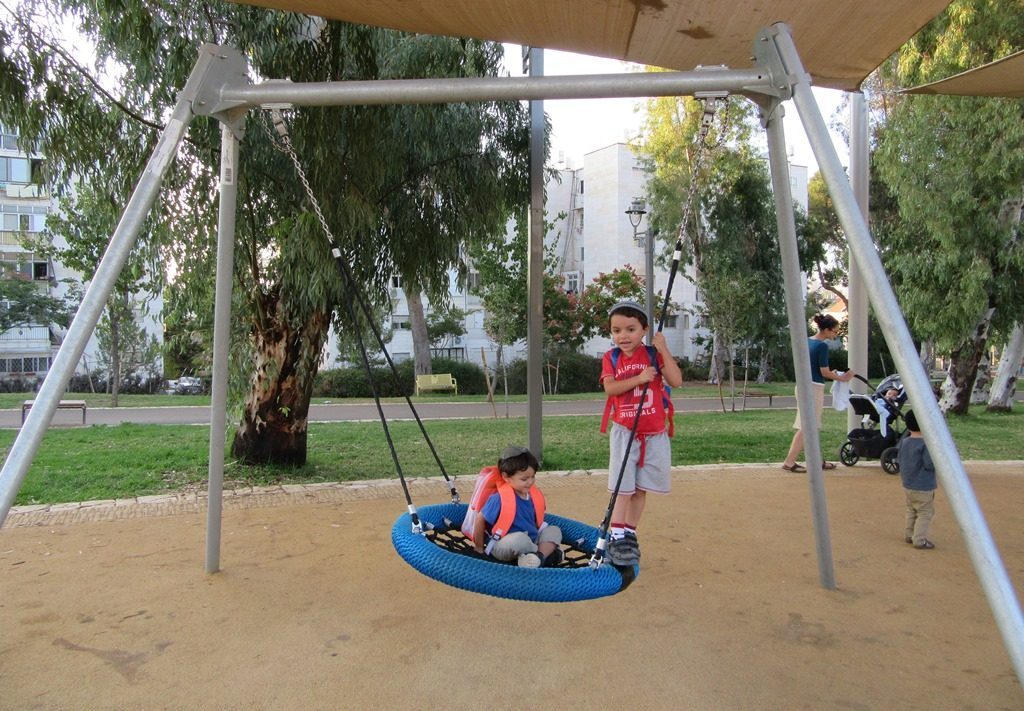 New play equipment in Jerusalem, Israel park