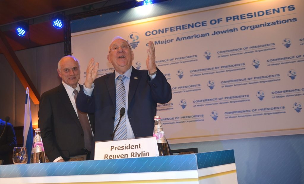 Reuven Rivlin and Malcolm Hoenlein at Inbal Hotel