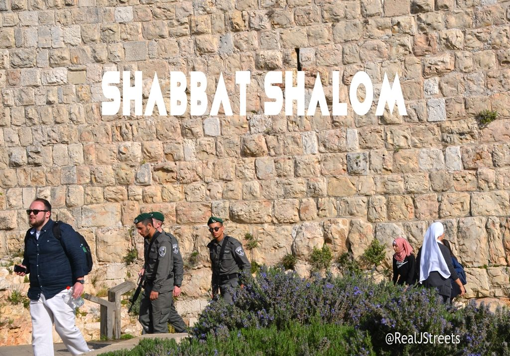 Sabbath shalom poster of people walking outside Walls of Old City