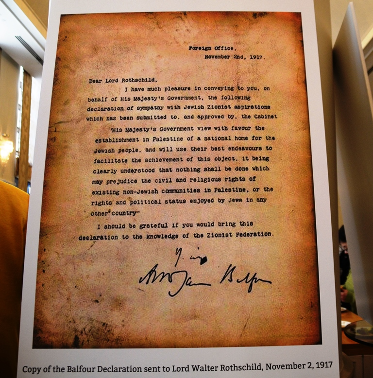 100 years of Balfour Declaration at Waldorf Hotel