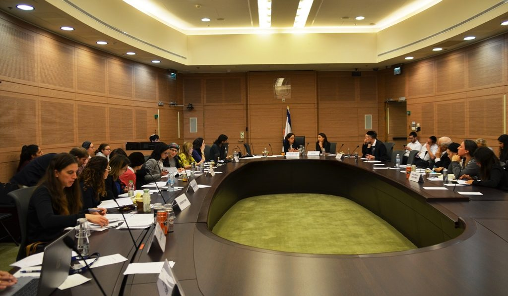 Rachel Azaria in Knesset committee room
