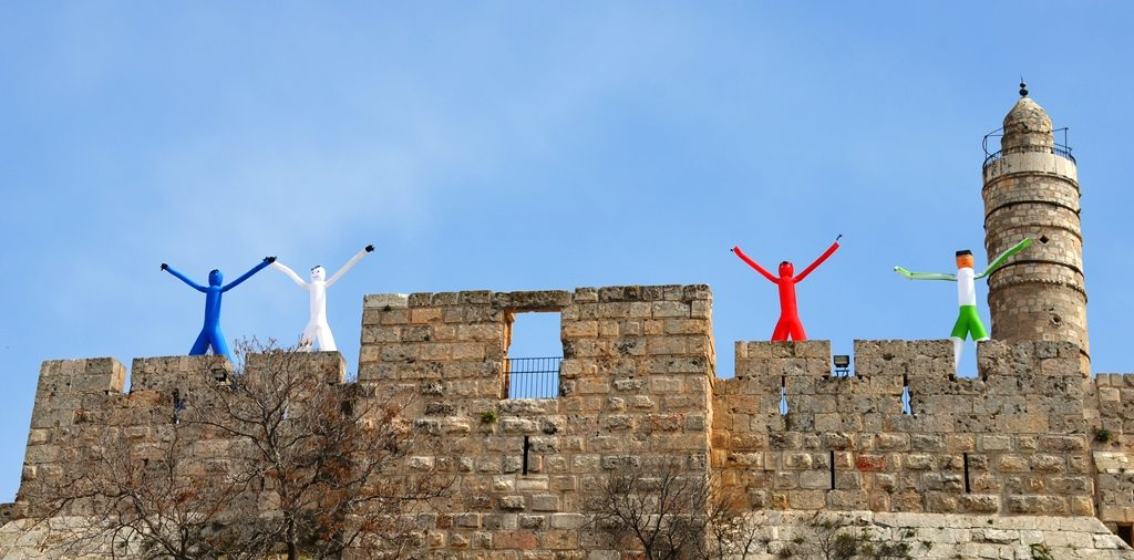 Four figures were on top of Tower of David Walls for Purim