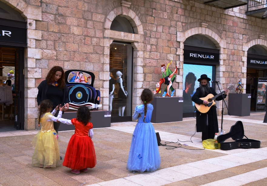 Little girls dressed for Purim in Jerusalem Israel Mamilla Mall