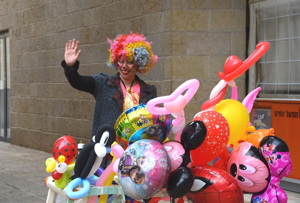 Colorful balloons for Purim at Mamilla Mall Jerusalem Israel