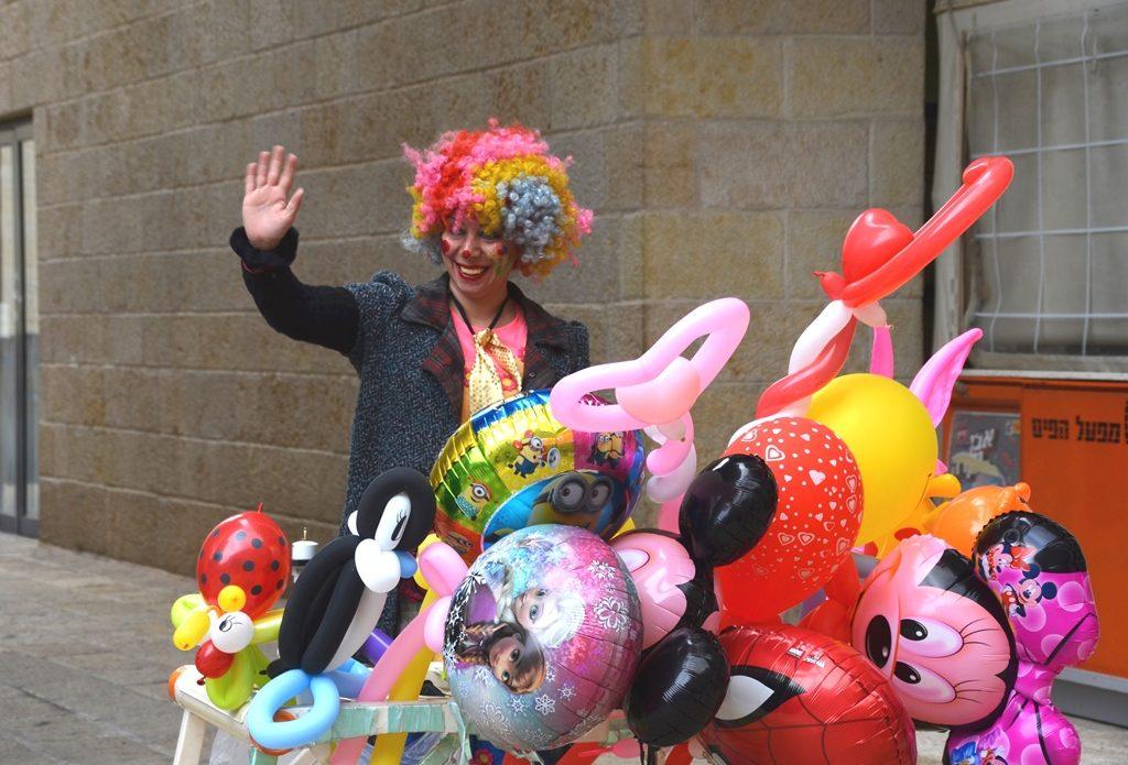 Colorful balloons for Purim at Mamilla Mall Jerusalem Israel