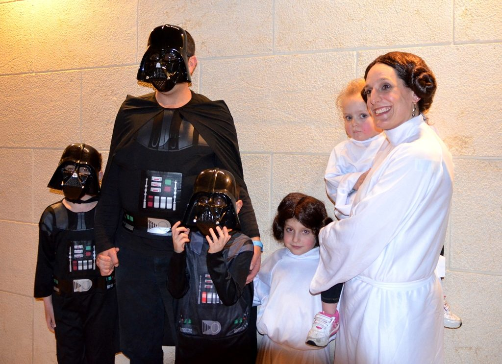 Family dressed in Star Wars costumes for Purim Jerusalem Israel
