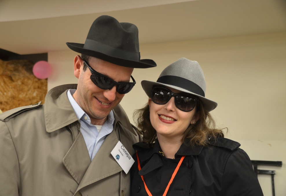Couple dressed as a pair of Russian spies for Purim in Jerusalem Israel