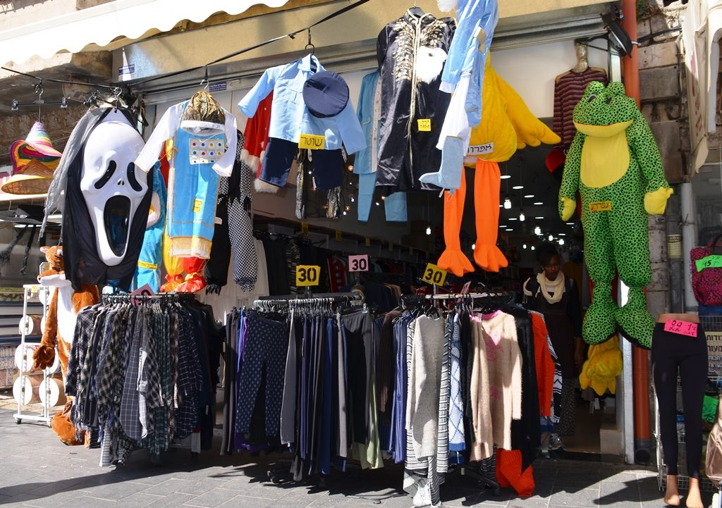 Purim costumes for sale in Machane Yehuda Market