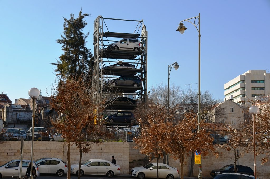 New car park in Jerusalem, Israel with cars stacked