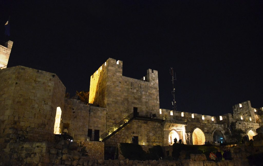 Tower of David night time inside Jerusalem, Israel