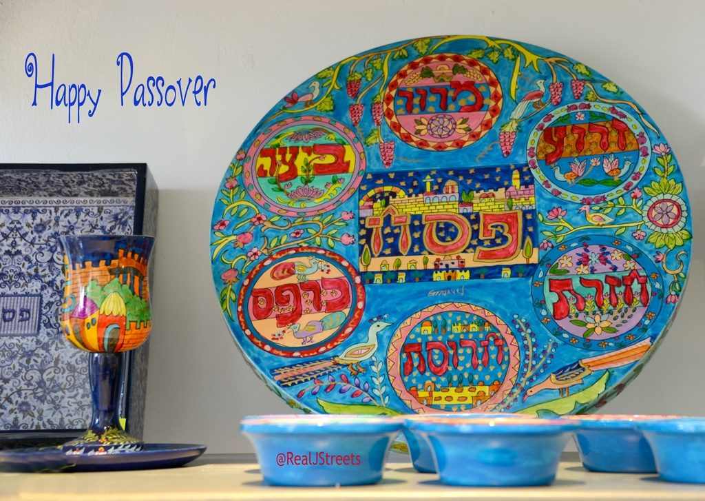 Pesach seder plate for Happy Passover greeting