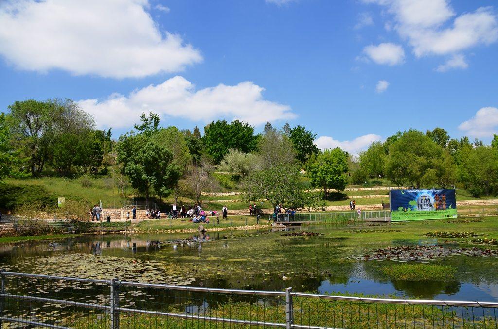 Jerusalem gardens view of pond