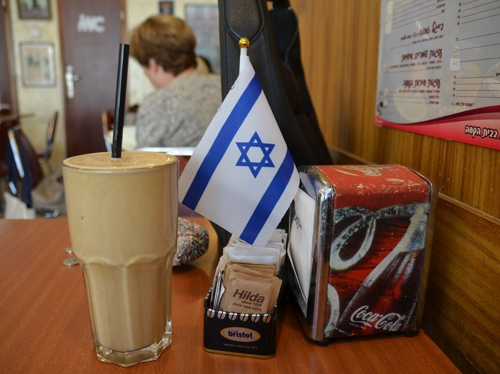 Jerusalem cafe Israeli flag on tables