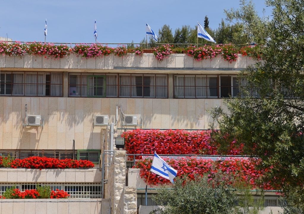 Flags and flowers in Jerusalem