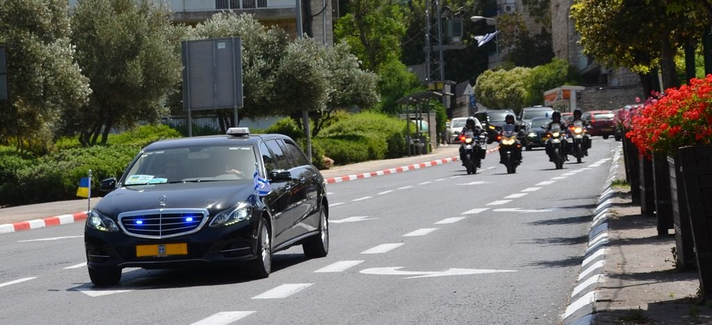 PM of Ukraine in Jerusalem Israel motorcade