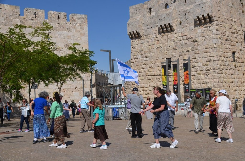 Jaffa Gate Plaza tourists dancing.