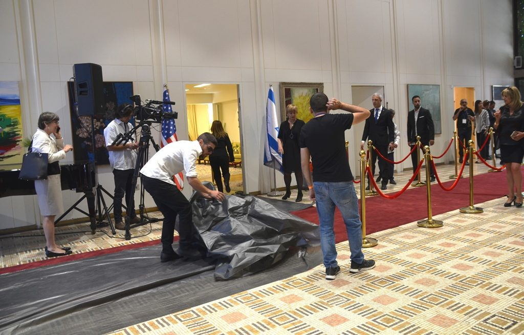 Red carpet at Beit Hanasi for Trump