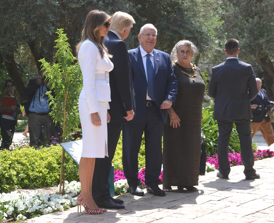 Tree planted in garden of Beit Hanasi in honor of Trump visit to Jerusalem Israel