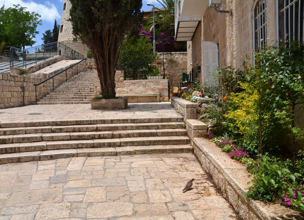 Stairs in Yemin Moshe leading to Montefiore Windmill