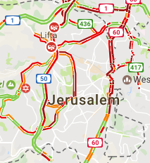 Traffic in Jerusalem at stand still