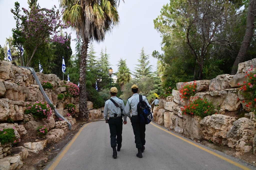 Two soldiers walking on Har Herzl Cemetery