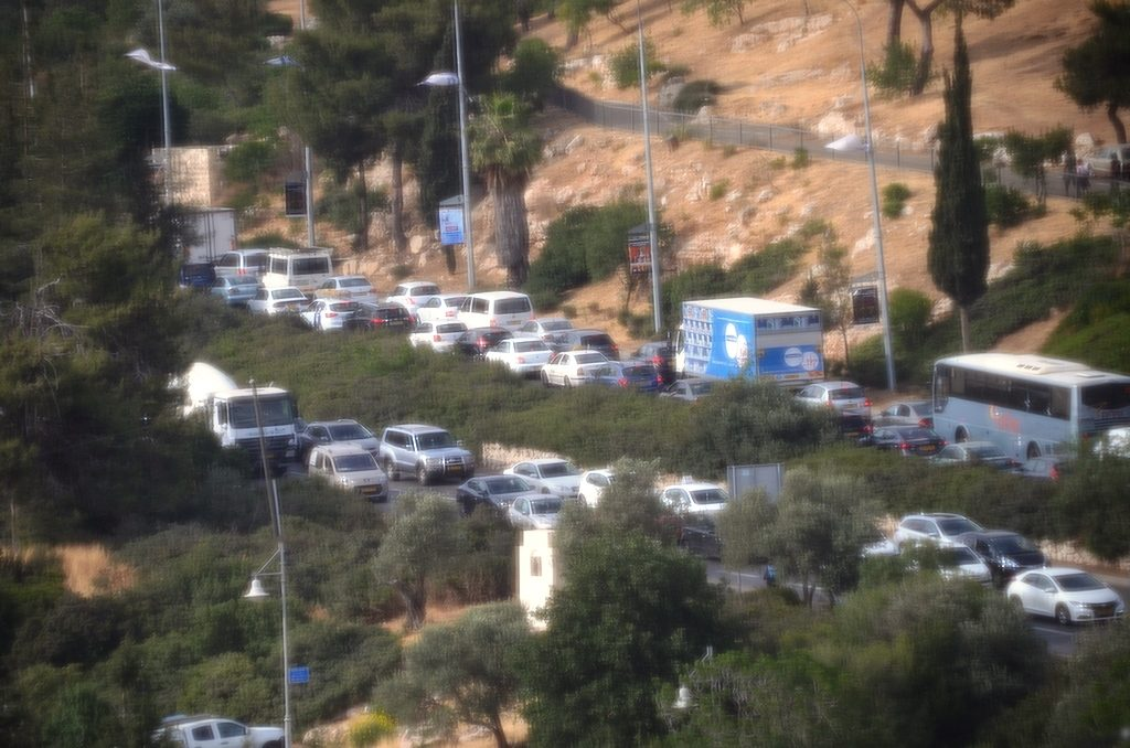 Traffic came to standstill in Jerusalem, Israel on Thursday May 4, 2017