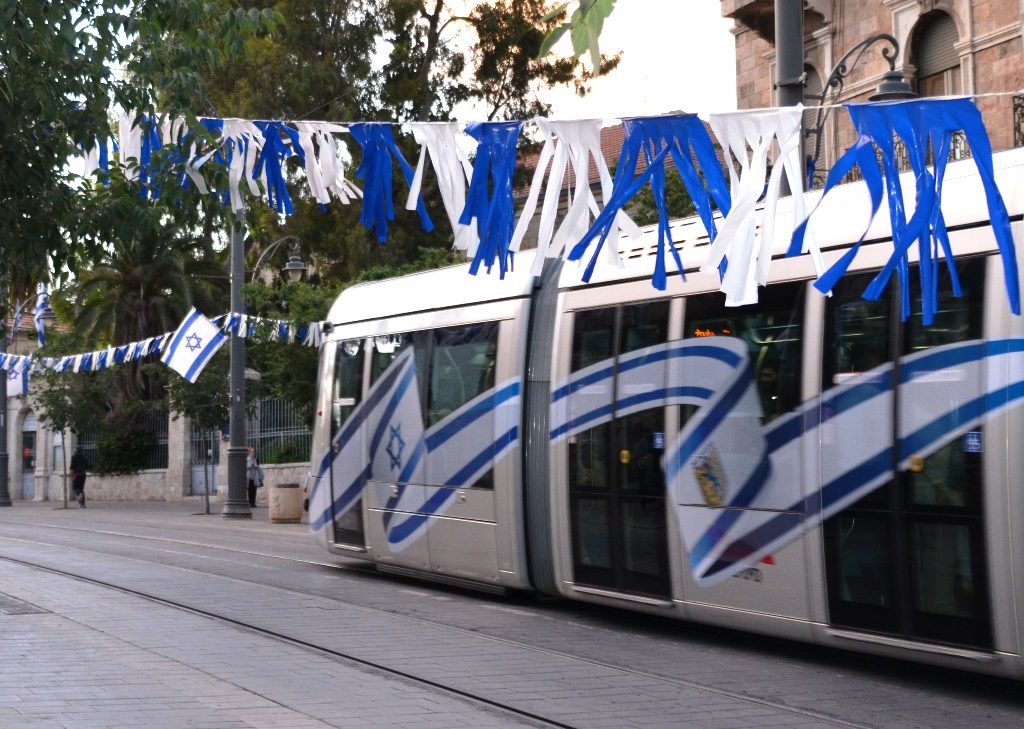 Yom Yerhushalayim, Jerusalem Day flags painted on side of light rail train